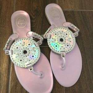 Jack Rogers jelly sandals size 10. Silver